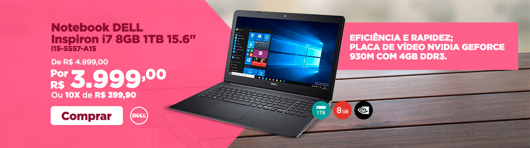 Notebook Dell Inspiron i7 8GB 1TB 15.6