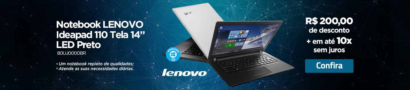 "Notebook Lenovo Ideapad 110 Tela 14"" LED Preto"