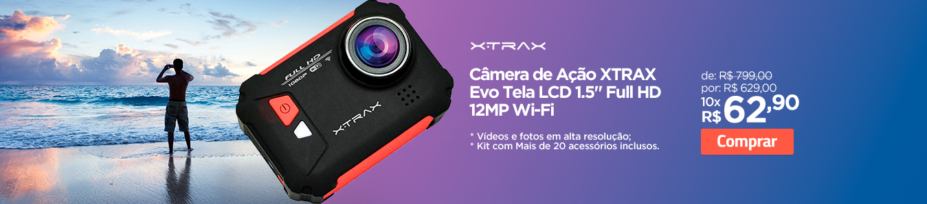 Câmera de Ação Xtrax Evo Tela LCD 1.5