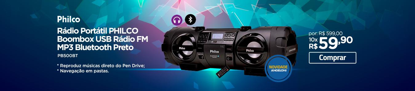 Rádio Portátil Philco Boombox USB Rádio FM MP3 Bluetooth Preto
