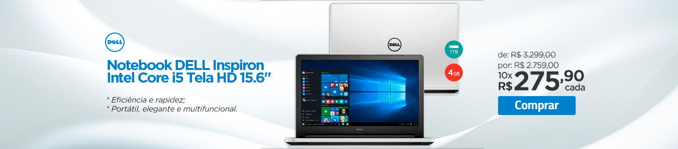 Notebook Dell Inspiron Intel Core i5 Tela HD 15.6