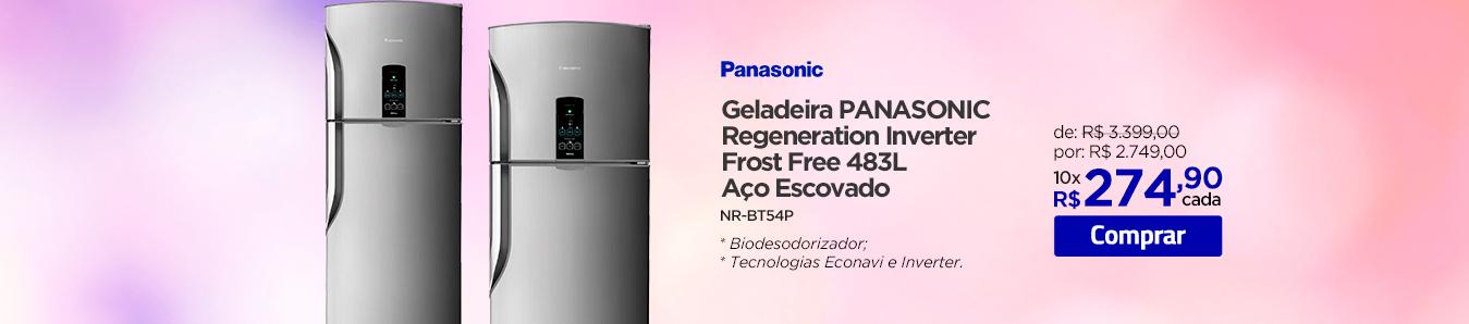 Geladeira Panasonic Regeneration Inverter Frost Free 483L Aço Escovado