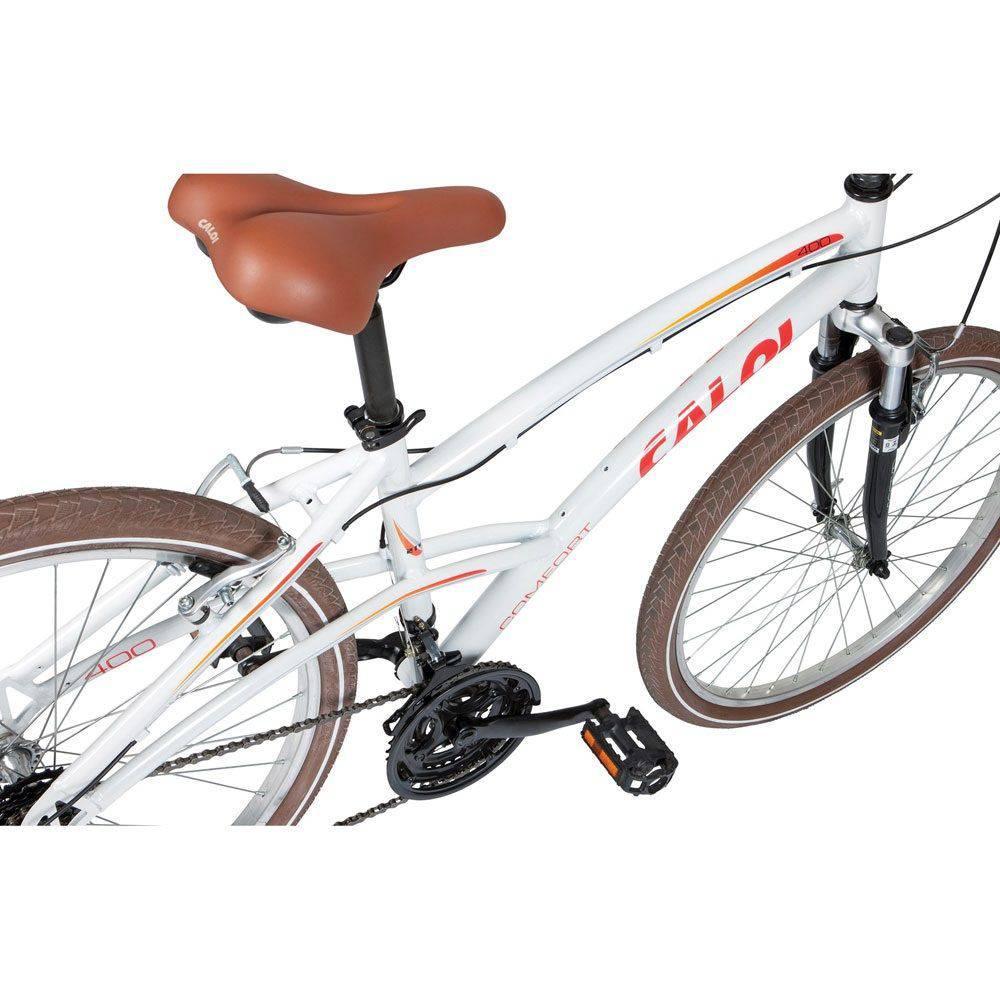 95779326d Bicicleta Caloi 400 Feminino Alumínio Branco 21V Aro 26