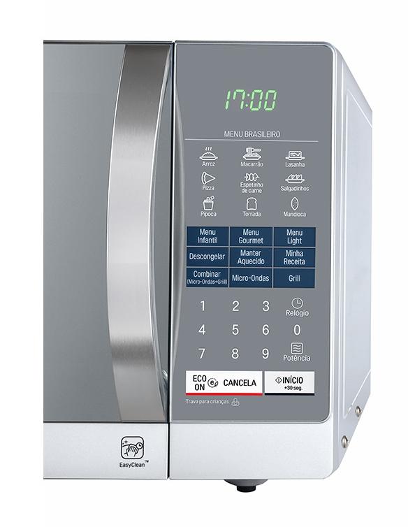93582ece1 Micro-Ondas LG EasyClean 30L MH7057QA Prata Espelhado